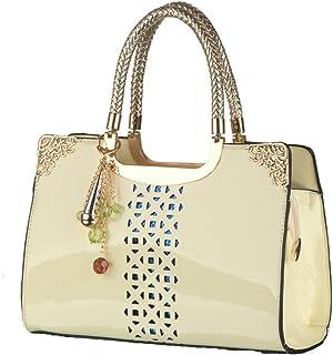 Patent PU Leather Handbag Hollow-out Handbags Single Shoulder Bag Tote Purse 93b87a91ccf85