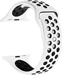 Soft Breathable Silicone Strap Replacement watchband Compatible for Apple Watch 42/44mm, White and Black