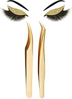 Eyelash Extension Tweezers Set-Precision Tweezers for 3D-6D Volume&Individual False Lashes Extensions with Metal Case Best...