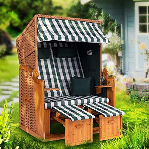 Strandkorb Ostsee XXL Volllieger 2 Sitzer - 120 cm breit - grün weiß kariert inklusive Schutzhülle, ideal für Garten und Terrasse