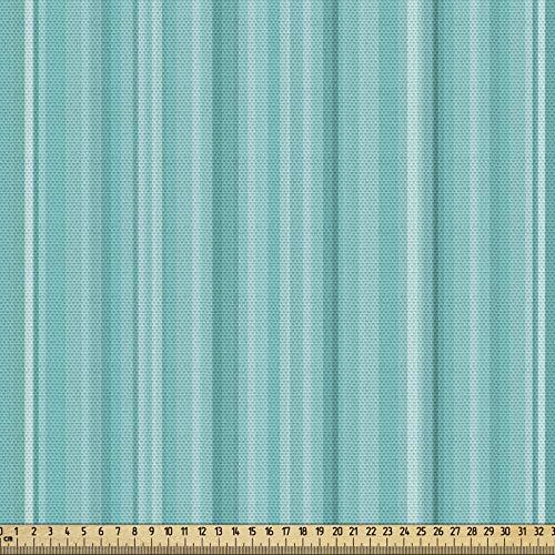ABAKUHAUS Wasser Gewebe als Meterware, Ozean inspirierte Blaue Linien, Schön Gewebten Stoff für Polster und Wohnaccessoires, 1M (148x100cm), Türkis Hellblau Seafoam Weiß