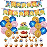 30Pcs Winnie Party Supplies - simyron Themed Party Decorations, Winnie The Pooh Birthday Decoration Include Cake Topper,Birthday Banner Balloons for Winnie and Friends Decoration