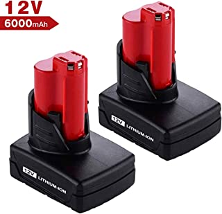 Upgraded 6000mAh 12V Replace for Milwaukee M12 Battery 48-11-2411 48-11-2420 48-11-2401 2455-20 12-Volt XC Cordless Milwaukee Tools - 2 Pack