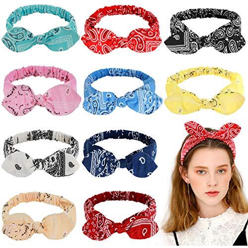 10 Pcs Bandanas Headband for Women, Retro Print Knot Paisley Bandana Rabbit Ear Boho Vintage Bow Headband Turban Headwraps Elastic Hair Band Cute Hair Accessories for Women Girls