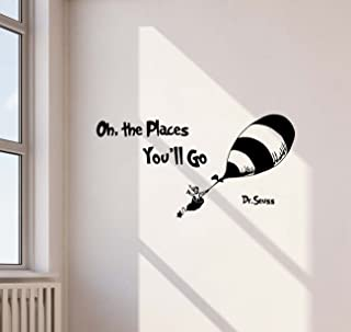 Oh The Places You'll Go Dr Seuss Quote Wall Decal Hot Air Balloon Disney Cartoon Lettering Boy Girl Gift Stencil Vinyl Sti...