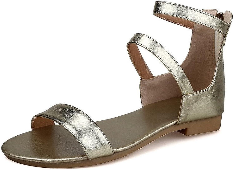 AmoonyFashion Women's Solid Low Heels Zipper Open Toe Sandals