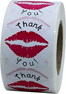 Hybsk Thank You Pink Kissing Lips Envelope Seals Stickers Total 500 Per Roll