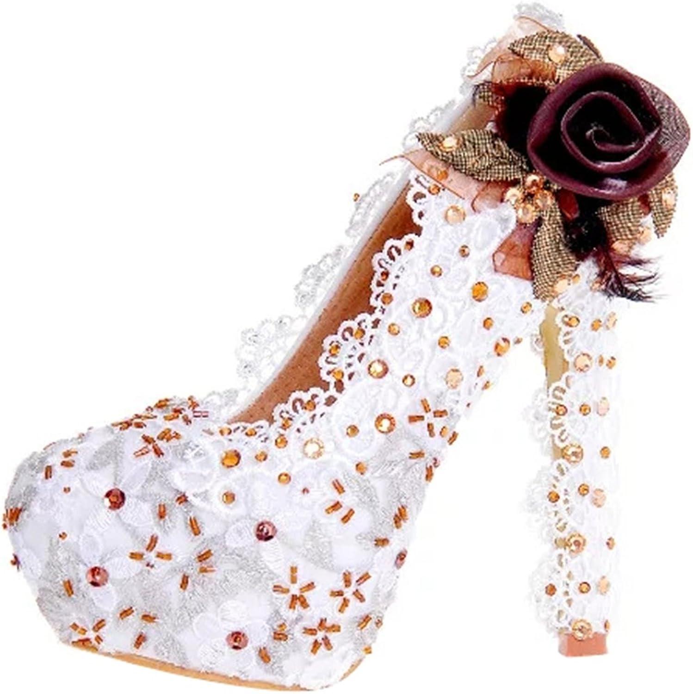 TDA Women's Trendy Flower Lace Wedding Party Dress Stiletto Pumps