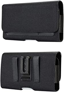Rugged Nylon Cell Phone Pouch Belt Clip Holster Case w/Belt Loop 2 Cards Slots for iPhone Xs/X, Galaxy S10e / J3 / J3 V / J3 Star, LG Rebel 4/3, Phoenix 3/4, Google Pixel 3/2, Essential Phone