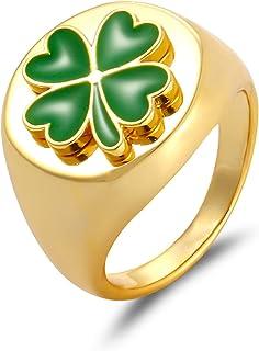 Enamel Yin Yang Ring for Women Vintage Daisy Flower Rings Clover Lucky Finger Ring Rose Infinity Chrysanthemum 18K Gold St...
