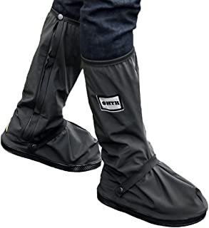USHTH Black Waterproof Rain Boot Shoe Cover with reflector (1 Pair) (Black-XL(12.6inch))