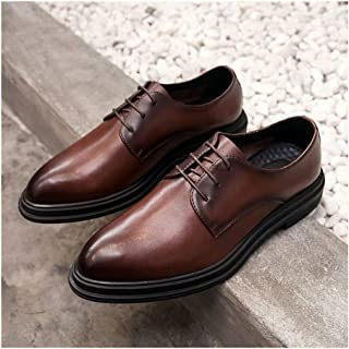XinQuan Wang Classic Business Oxfords for Men Big Size Leisure Shoes Genuine Leather Lace up Pointed Toe Burnished Style Waxed Laces Block Heels (Color : Brown, Size : 5.5 UK)