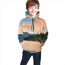 Teen Hooded Sweatshirts,Romantic Sunset at Lake Tahoe Peaceful Shoreline Sierra Nevada United States