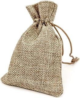 RUBY - 50 Bolsitas saco de yute 11,5 x 8,5cm para regalo joyeria, bolsita para regalo de tela de arpillera, bodas, comuniones, saco navidad, reuniones, artesanía de bricolaje (Natural)