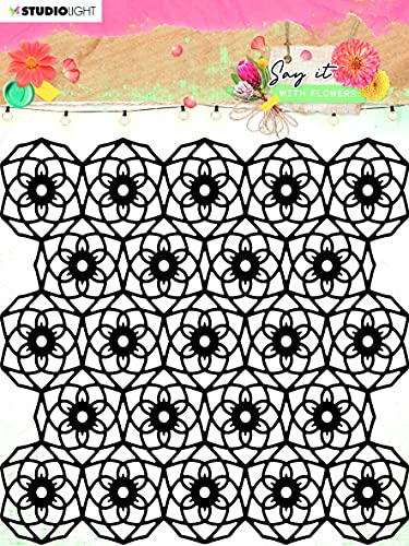 Studio Light Decirlo con flores Stencil-Nr.62
