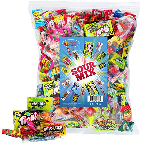 A Great Surprise Sour Party Mix - Appx. 3 LB Bulk: Warheads Extreme, Cry Baby Gumballs, Sour Patch,...