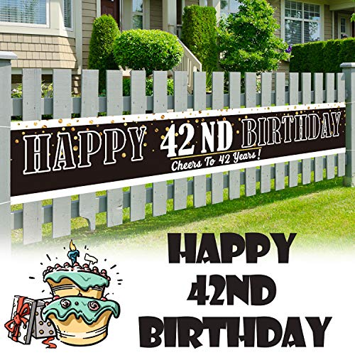 LINGPAR 9.8 x 1.6 ft Large Sign Happy 42th Birthday Banner - Cheers to 42 Years Old Decor