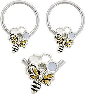 Pair of Bumble Bee & Honeycomb Captive Bead Ring Lip, Belly, Nipple, Septum, Earring Hoop 16g