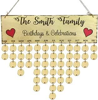 Elevin(TM) 2018Wooden DIY Calendar Birch Ply Plaque Family Friends Birthday Valentine's Day Reminder Board
