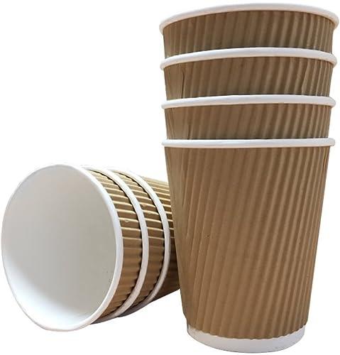 Thali Outlet 00 Kraft 8 ze RipÃle Pappbecher und WeißDeckel 3-lagig Isolierte für Tee Kaffee Cappuccino Hei Getr e