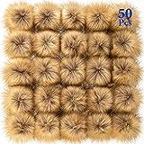 50 Piezas Bolas de Pompones de Piel Falsa Bolas de Pom Poms Mullidas de Manualidades con Aros Elásticos para Sombrero Llavero Bufanda Guantes Bolsas Accesorios (Marrón)