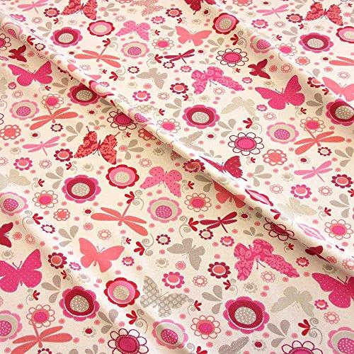Stoff Baumwolle Jersey Meterware creme rot Schmetterling Libelle pink