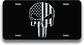 Decals Home Decor & More Punisher Skull American Flag Vanity License Plate | Etched Aluminum | 6-Inches By 12-Inches | Car Truck RV Trailer Wall Shop Man Cave | VLP198