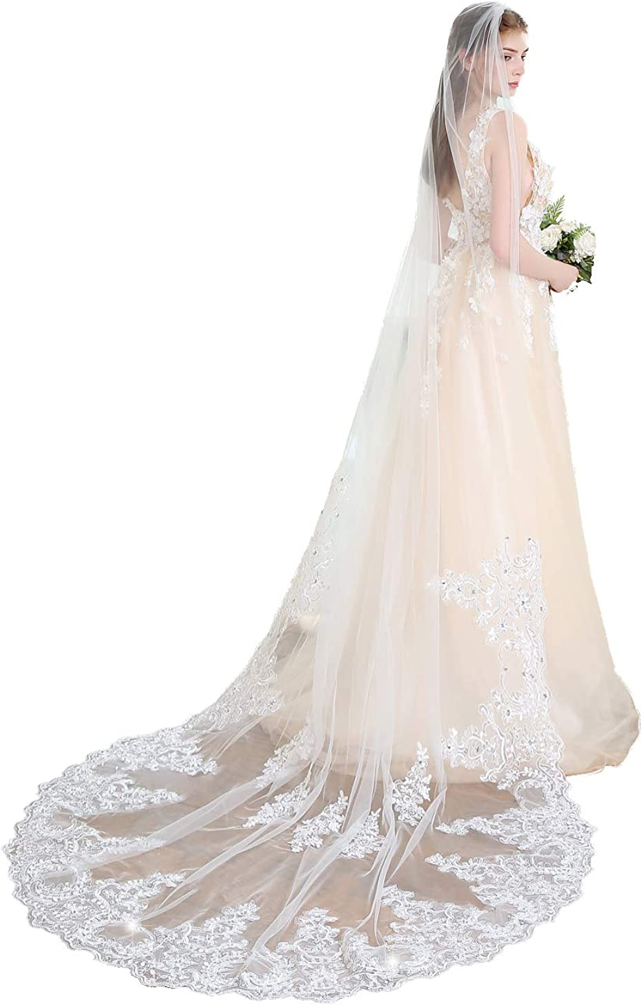 Crystal Wedding Veil Max 67% OFF 1 Tier Cathedral Special Campaign Long Length w Bridal Veils