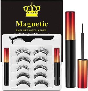 Ciglia Magnetiche Con Eyeliner Magnetico Kit, 5 Paia Di Ciglia Finte Naturali E Di Lunga Durata, Ciglia Finte Magnetiche R...
