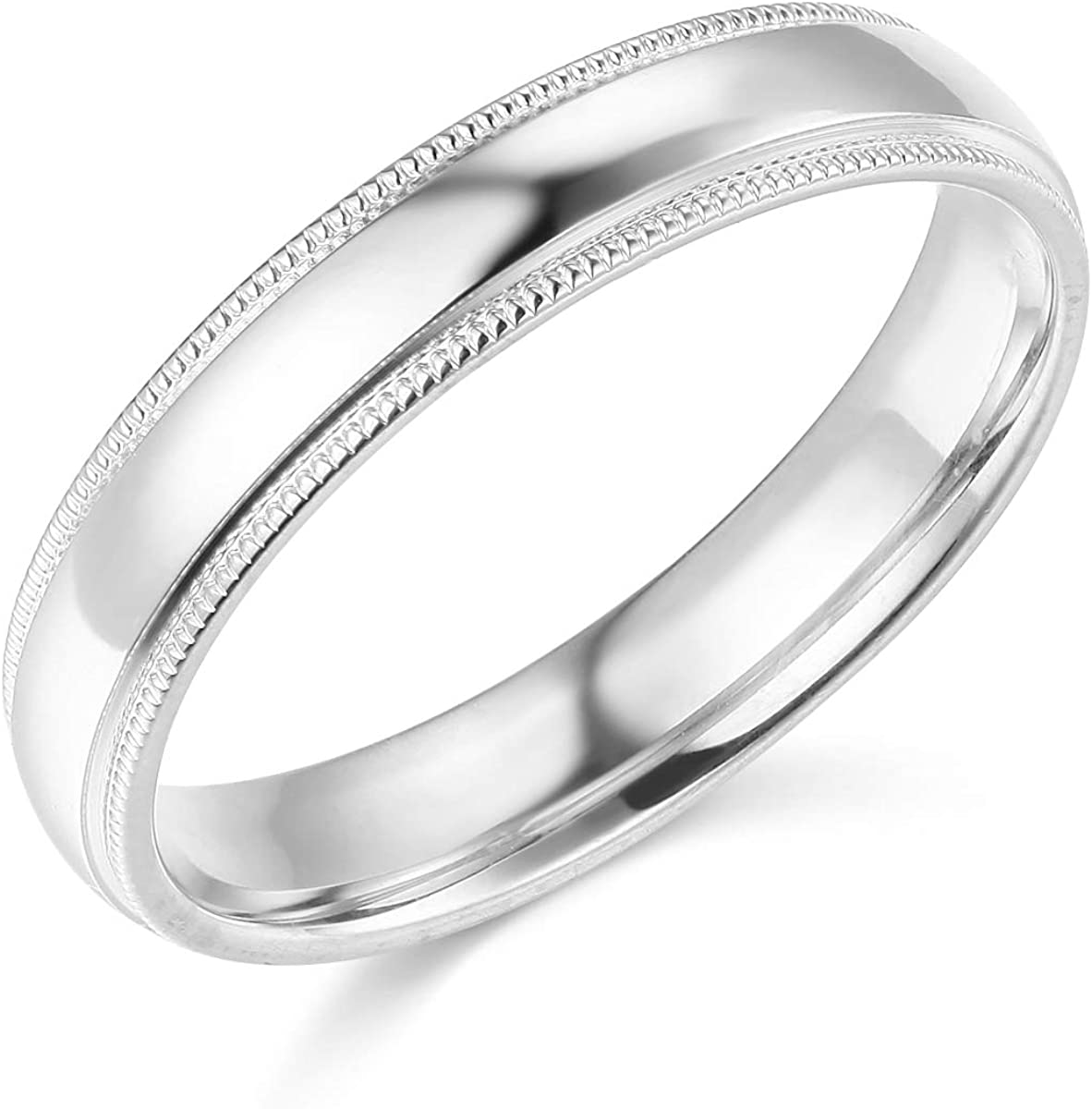Wellingsale Ladies 14k Yellow -OR- White Gold Solid 4mm COMFORT FIT Milgrain Traditional Wedding Band Ring