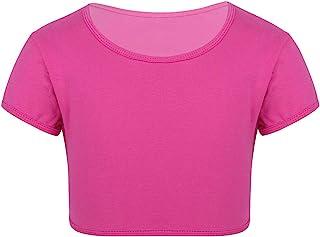 JEATHA Kids Girls Short Sleeves Crew Neck Crop Top Running Yoga Gymnastic Sports Workout T Shirt Active Wear