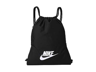 Nike Heritage Gym Sack 2.0 (Black/Black/White) Backpack Bags