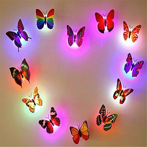 12 PCS Creative Small Lamp Flashing Colorful Butterfly Night Light Wall Stickers Lamp LED Decorative Night Lights Random