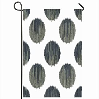 Ahawoso Outdoor Garden Flags 12x18 Inch Gray Circles Ikat Polka Dot Pattern Graphic Grey Design Vertical Double Sided Home Decorative House Yard Sign