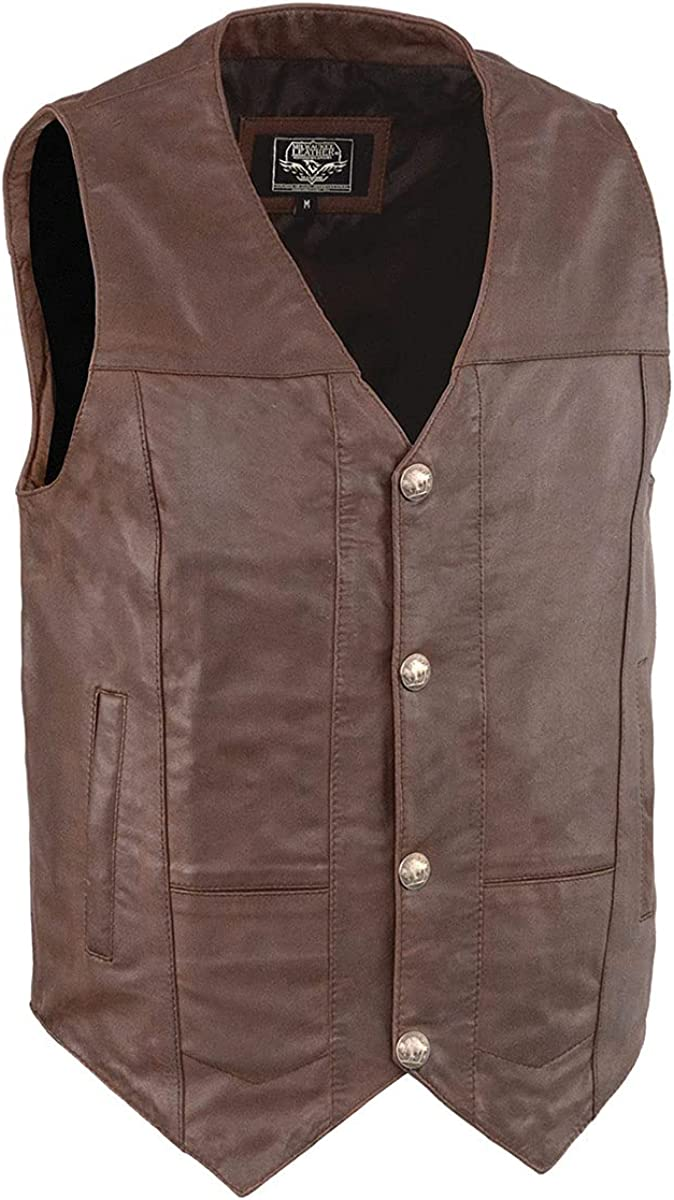 Milwaukee Leather LKM3702 Men's Black Western Style Leather Vest with Buffalo Snaps