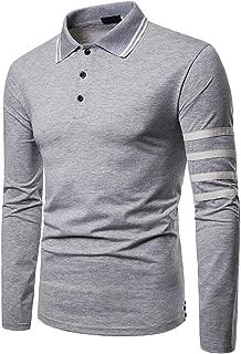 Men's Fashion Slim Fit T-Shirt Striped Long-Sleeved Casual Polo Shirt