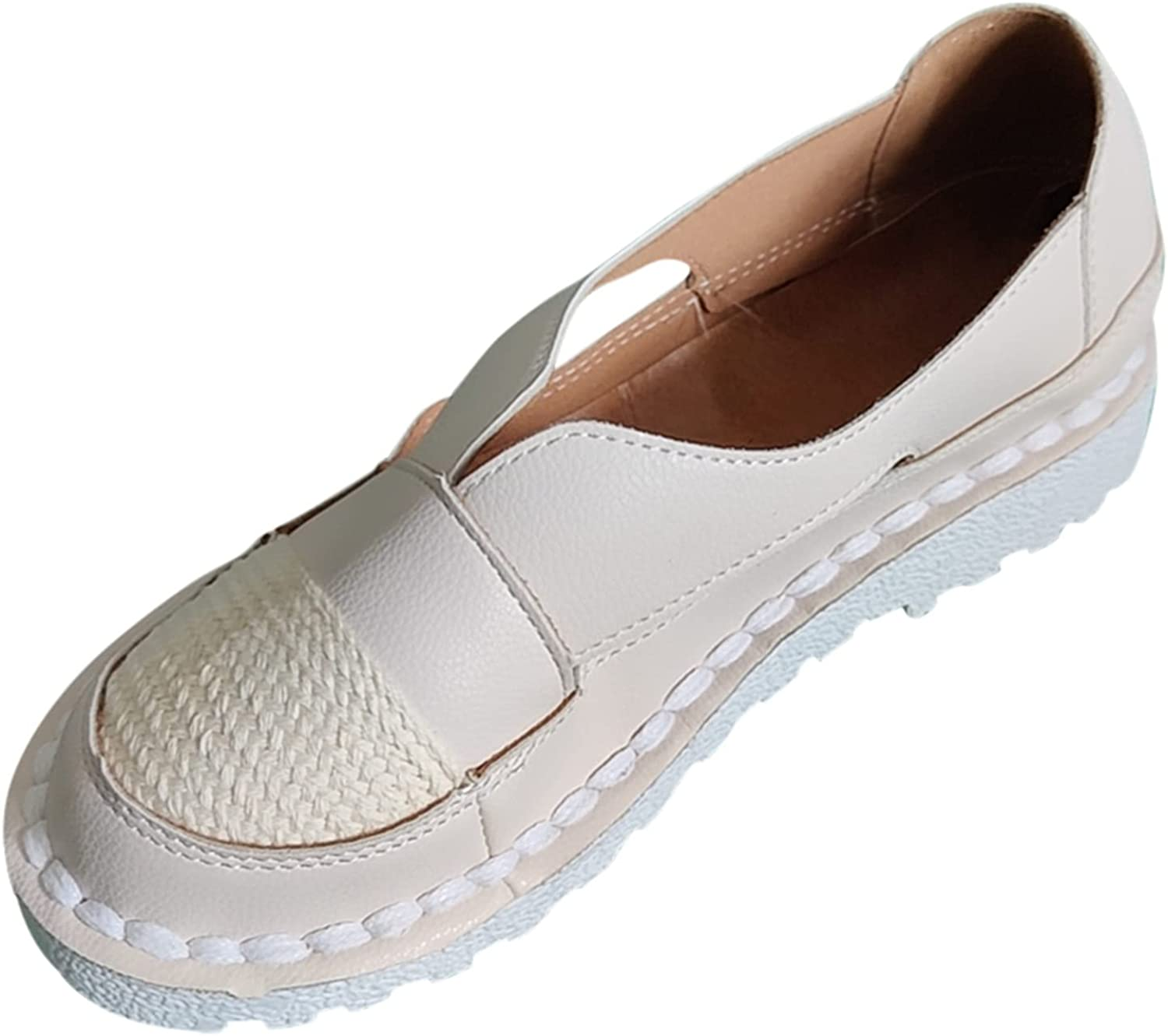 Women's Slip-Ons Flats Round Toe Max 57% OFF Side Loafers Leather Cutout Dri Bombing free shipping