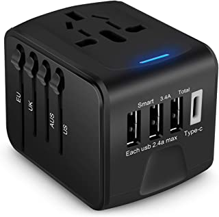 Travel Adapter, AICase Universal 3.4A Type C 4 USB International Worldwide Power Plug Travel Wall Charger with UK,EU,AU,US,Asia (Black)