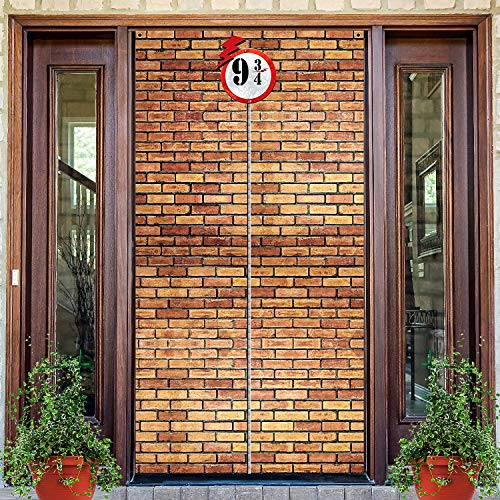 Brick Wall Backdrop 9 and 3/4 Cross Station, Brick Wall Party Backdrop Door Curtains for Wizard Wall Decoration Magical Wizard Costume Party, Secret Passage to The Magic School, Brick Wall Background