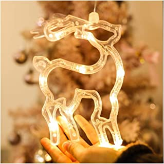 Fengtan 2019 Hanging Lights Battery Operated Christmas LED Warm White Acrylic Starry Fairy Lights Xmas Romantic Decor Indoor Outdoor Windows Living Room Silhouette Decoration (Elk)