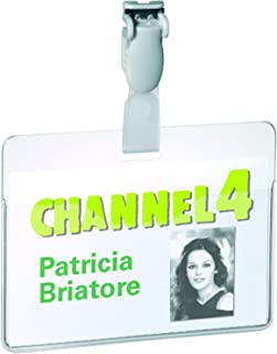 Durable Name Badge 60 x 90 mm with Plastic Clip Transparent   Pack of 25 Badges   Includes Blank Insert Cards   Perfect Fo...