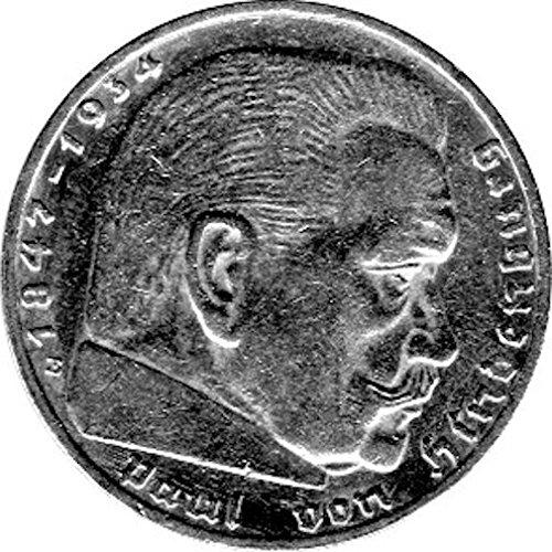 Schniebel Trading 2 Reichsmark Deutschland, 1937 E, Hindenburg (Jäger: 366) Vorzüglich