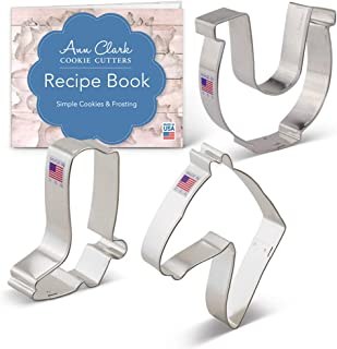 Ann Clark Cookie Cutters 3-Piece Western Horse/Cowboy Cookie Cutter Set with Recipe Booklet, Horse Head, Cowboy Boot and Horseshoe