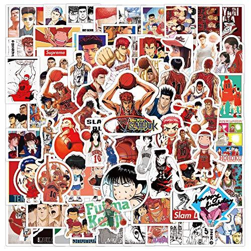 JZLMF 100 Pegatinas de Dibujos Animados Slam Dunk Graffiti Pegatinas Decorativas para Equipaje, Pegatinas Impermeables para Ordenador