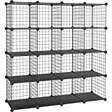 SONGMICS 16 Cubes de Rangement en Treillis Metallique, Placard, Armoire avec Étageres Modulaires,...