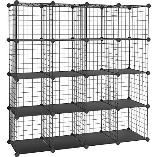 SONGMICS Steckregal, 16 Würfel Aufbewahrungssystem aus Metalldraht, DIY Schrank und modulares...