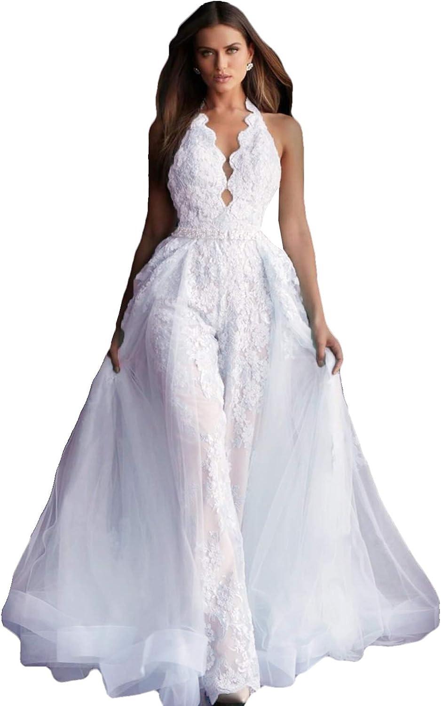 The Peachess Women's Jumpsuits Prom Dresses Lace Appliques Evening Gowns Detachable Train Pants Suit Party Wear