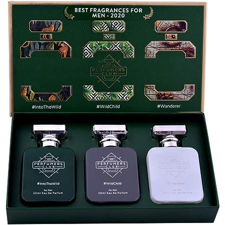 "Perfumer's Club""Best Fragrance for Men 2020"" Gift Set of 3(Into The Wild + Wild Child + Wanderer) Upto 24 hrs lasting (Eau De Parfum), 150 ml"