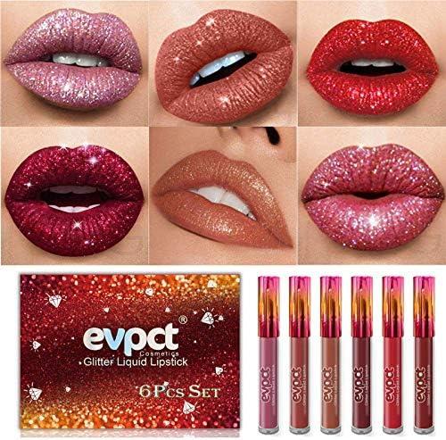 Yelna 6Pcs Set Matte to Glitter Liquid Lipstick Set Diamond Shimmer Glitter Lipgloss Waterproof product image