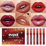 Yelna 6Pcs/Set Matte to Glitter Liquid Lipstick Set, Diamond Shimmer Glitter Lipgloss Waterproof Long Lasting Lipstick Not Stick Cup Lip Glosses Set Makeup Gift Kit Christmas